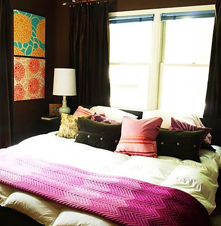 Dark walls + fabric on canvases - stunning