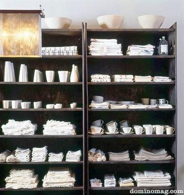 Industrial chic - white items on shelving
