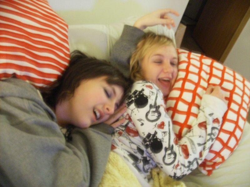 Elena + kalette - fake sleeping