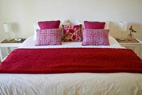 Pink + red bedding