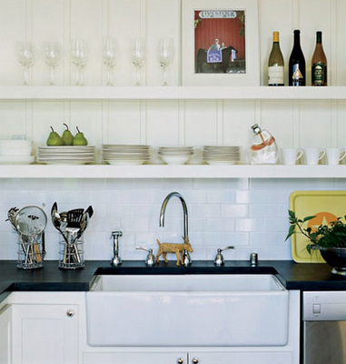 White farmhouse kitchen sink