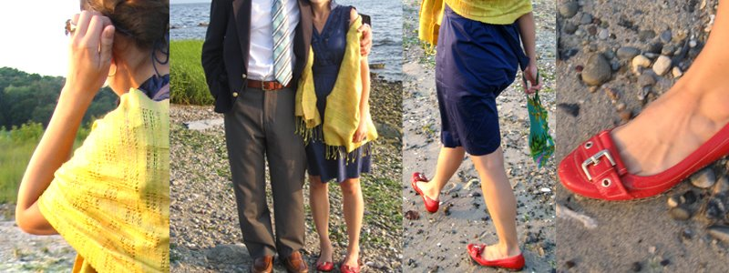 Lydia wedding - blue dress + red shoes + yellow scarf