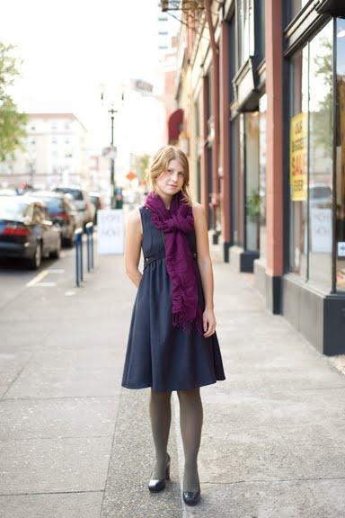 Blue dress + raspberry purple scarf