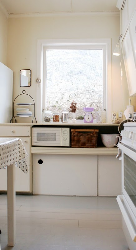 NIB - kitchen with microwave on a low counter-shelf
